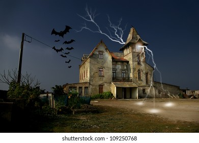 Photo composition with an abandoned haunted house for Halloween holiday.