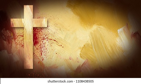 Photo composition graphic of Cross of Jesus on painted oil texture. Simple, yet dramatic art for Easter message or similar background, header, greeting card or slide.