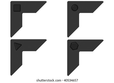 Photo corners with geometrical carves over white background