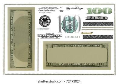 Photo dollar bill elements isolated on white background (Set)