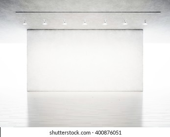 Photo exhibition modern gallery. Blank concrete wall in contemporary art museum. Interior industrial style with white wood floor. Spotlights hanging on the ceiling. 3d rendering