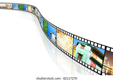 A Photo film. 3D rendered Illustration. Isolated on white.