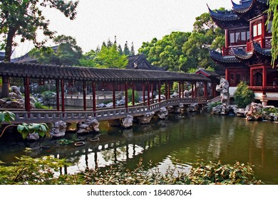 Photo of a fragment of a pavilion and pond in Yuyuan gardens, Shanghai, stylized and filtered to resemble an oil painting.