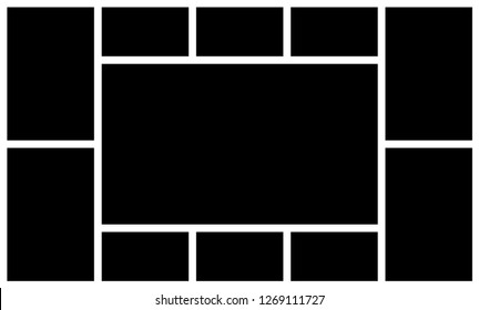 Photo frame collage. Picture frames old photographs template. Retro image montage mockup or photo frame photographic paper montage. Black square photos, vintage photograph album  texture