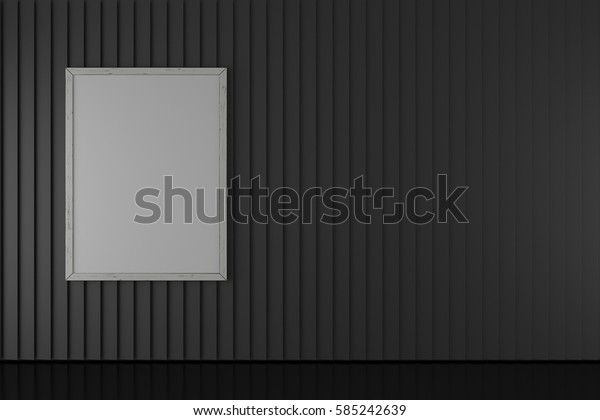Photo frame on black wall and floor background 3D rendering