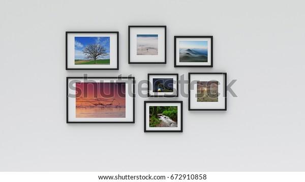Фоторамка на стене (3d рендеринг)