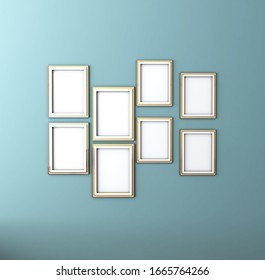 Photo Frame on Wall Background. 3D illustration, 3D rendering