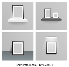 Photo frame realistic design 3d hanging shelf wall flor light on a wall with  illustration