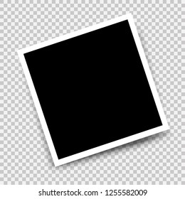 Photo frame with shadow mockup design. White border on a transparent background. Photo Gallery picture icon