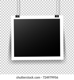Photo Frame With Tape In Transparent Background