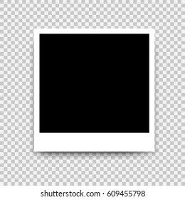 Photo frame. White border on a transparent background. Mockup design