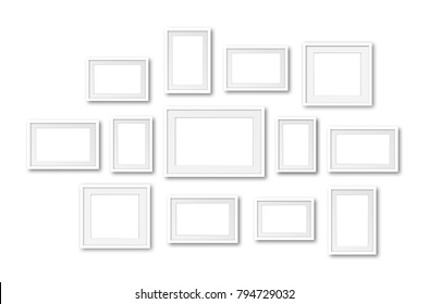 Photo frames collage, thirteen set collection, interior decor mockup, gallery style. 3D illustration