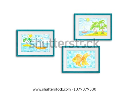 Photo Frames Collection Colored Pencils Drawings Stock Illustration ...