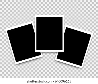 Photo frames set mockup design. White border on a transparent background