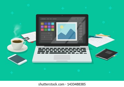 Photo or graphic editor on computer illustration, flat cartoon laptop screen with design or image editing software or program on workplace desktop table image