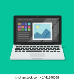 Photo or graphic editor on computer illustration, flat cartoon laptop screen with design or image editing software or program isolated image