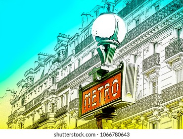 Photo Illustration of Metro sign in Paris, France, Europe