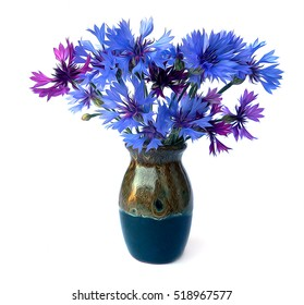 photo manipulation oil paint blue cornflower perspective, delicate flowers and petals isolated on white background in a small ceramic vase