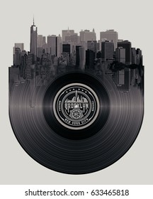 Photo montage New York illustration , Brooklyn typography, tee shirt graphics, disk illustration
