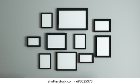 photo or picture art on vintage wall with black border frame 3D rendering
