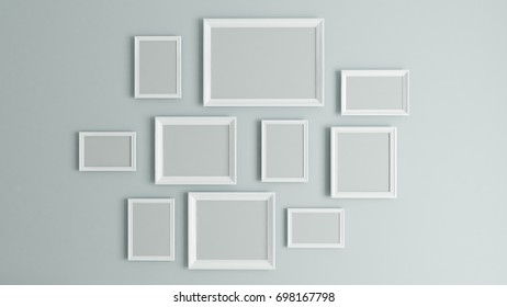 photo or picture art on vintage wall with white border frame 3D rendering