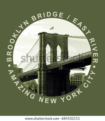 14250ace Photo print Brooklyn bridge illustration, tee shirt graphics, amazing  typography
