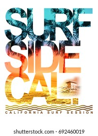 Photo print California surf illustration, tee shirt graphics, typography