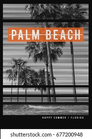 Photo print Florida beach illustration, tee shirt graphics, palm beach typography