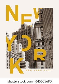 Photo print New York illustration, tee shirt graphics, typography