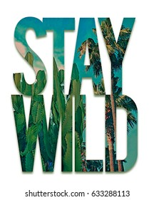 Photo print palm and cactus illustration, stay wild typography, tee shirt graphics