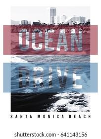 Photo print Santa Monica beach illustration, ocean drive typography, tee shirt graphics