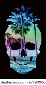 Photo print skull pine apple tropical sea beach illustration, tee shirt graphics, typography