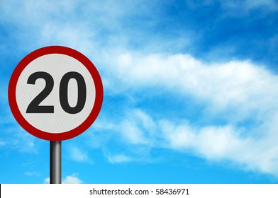 Photo realistic bright, clean 'twenty miles per hour speed limit' sign, with space for your text / editorial overlay