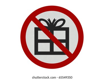 Photo realistic metallic, reflective 'no presents' sign, isolated on white
