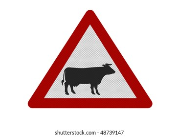 Photo realistic reflective metallic 'cattle' sign, isolated on a pure white background.