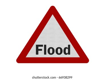 Photo realistic reflective metallic 'flood warning' sign, isolated on a pure white background.