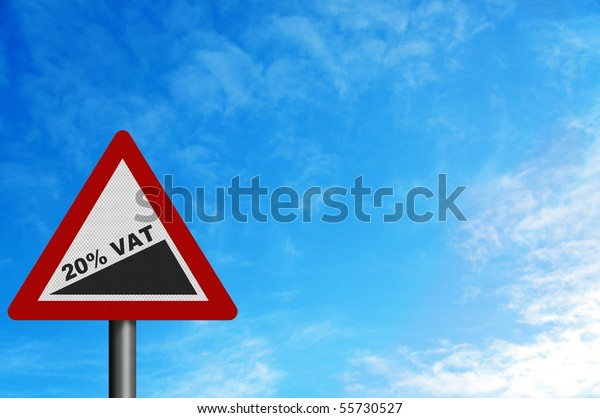 Photo realistic reflective metallic 'rise to 20% VAT' sign (announced in June 2010 budget). With space for your text / editorial overlay