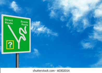 Photo realistic sign - direct route or scenic route? With space for your text / editorial overlay