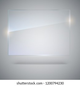 Photo realistic texture of glass with highlights and glow. Blank, transparent glass plate. Banner with copy-space. See through the plastic, 3D illustration.