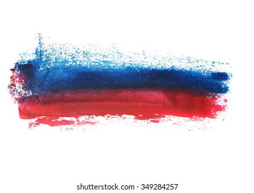 photo red blue grunge brush strokes oil paint isolated on white background