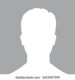 Photo Silhouette Of Male Profile. white Person Picture Isolated On blue Background. Good Unknown Photo User Silhouette For Your Web Design. Minimal Flat Symbol