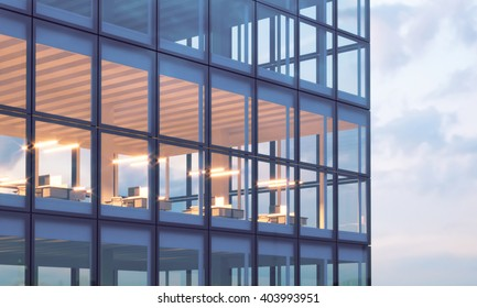 Photo of skyscraper tower.High floor office, interior in evening time. Panoramic windows facade background,contemporary business center. Empty coworking room.Real horizontal mockup,flares.3d rendering