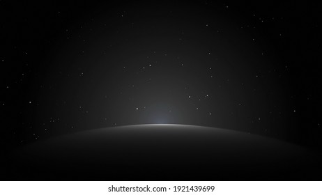 Photo of the starry night sky. A scattering of white, bright stars and planets in the black sky. Night time of the day.
