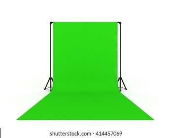 Photo Studio with Green Screen a isolated on white background  ,3d rendering