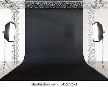Photo studio interior with equipment and black cyclorama. 3d render.