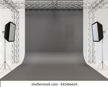 Photo studio interior with equipment. Gray cyclorama. 3d render.