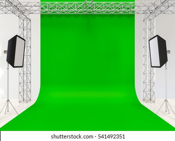 Photo studio interior with equipment and green chromakey. 3d render.