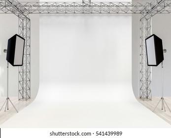 Photo studio interior with equipment. White cyclorama. 3d render.