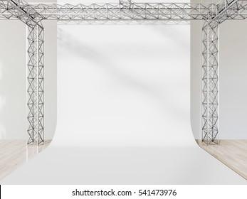 Photo studio interior with white cyclorama. 3d render