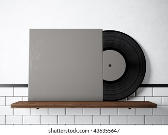 Similar images stock photos vectors of photo vinyl music album photo vinyl music album template on natural wood bookshelfwhite painted bricks wall background maxwellsz